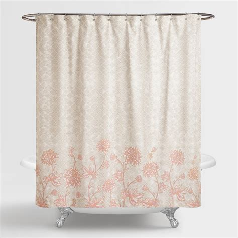 blush shower curtain gray and blush floral fiona shower curtain world market