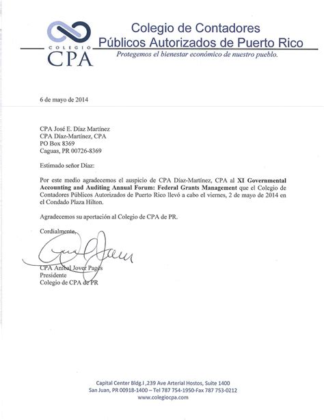 Thank You Letter For Accounting Society Of Certified Accountants Thank You Letter 171 Cpa D 237 Az Mart 237 Nez Psc