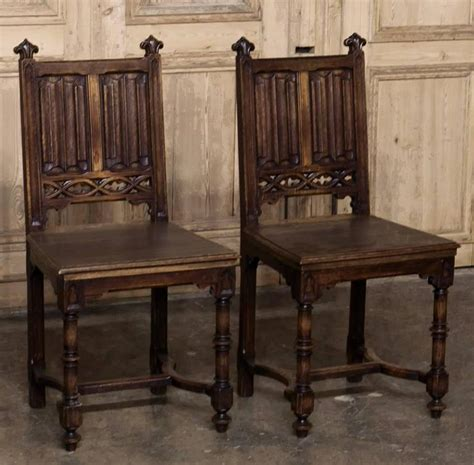 gothic dining room furniture set of six 19th century french gothic dining chairs at 1stdibs
