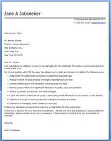 Cover Letter Hospital by Cover Letter For Healthcare It Resume Downloads