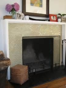 shadowbox mantel glass mosaic tile fireplace surround