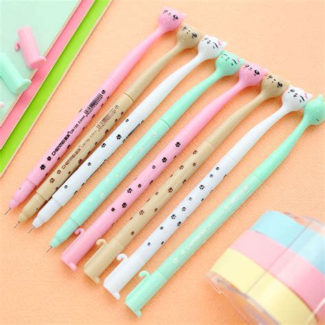 Korean Stationery Kawai Color Pen Pulpen Gel korea stationery kawaii gel pen animal cat pen jelly colors school supplies