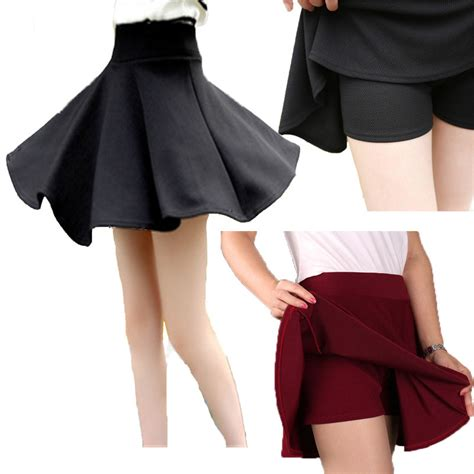s casual solid high waisted a line skirts mini