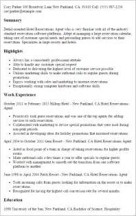 Hotel Reservations Sle Resume professional hotel reservations templates to showcase your talent myperfectresume