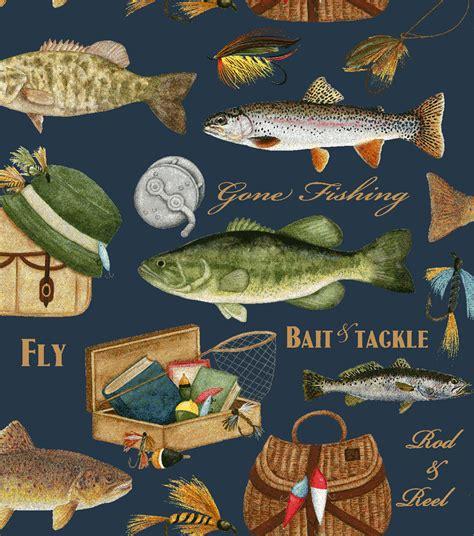 100 Polyester Upholstery Fabric Anti Pill Fleece Fabric Gone Fishing Blue Jo Ann