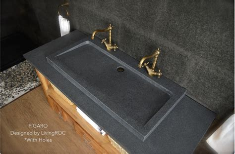 granite bathroom sink 39 quot gray granite stone double faucet trough sink figaro
