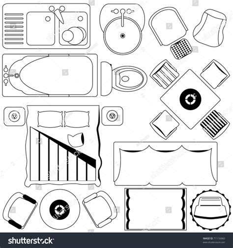 floor plan furniture collection stock image image outline vector simple furniture plan floor stock vector