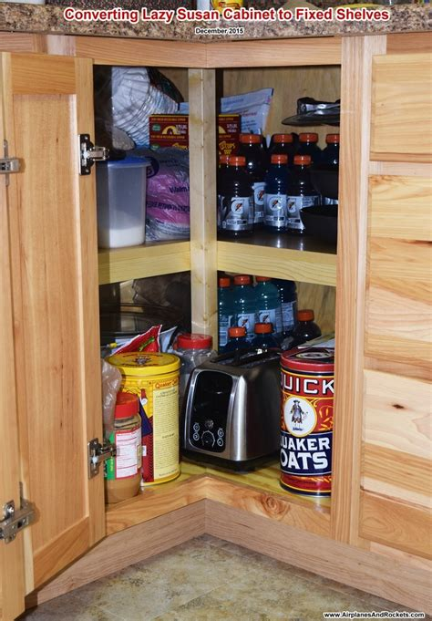 lazy susan cabinet converted to shelves airplanes and