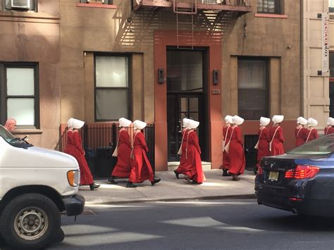 handmaids spotted throughout nyc as hulu show premieres chelsea ny patch
