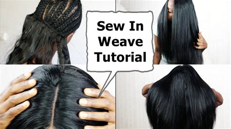 hair do with sew in weave with a part in the middle watch me do full sew in weave no leave out no glue
