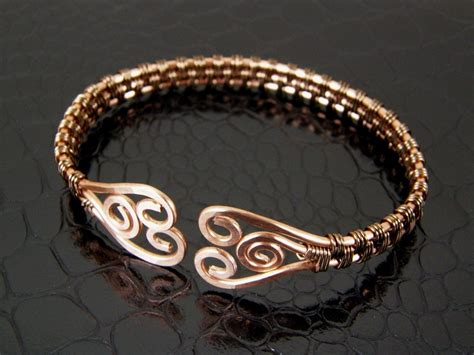 helical wire work open bangle wire wrapped copper bronze hammered spiral wire weave
