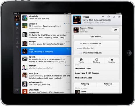 twitter ipad layout inspiration mobile interaction design