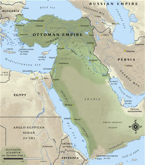 Empire Ottoman 1914 by Map Of Ottoman Empire In 1914 Nzhistory New Zealand
