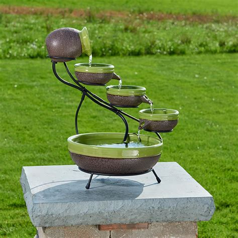 smart solar ceramic solar cascade fountain with kiwi and
