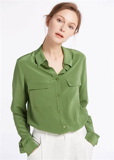 Basic Pleats With Pocket 18mm basic box pleated silk shirts