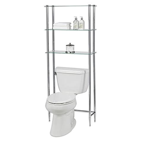 over the toilet etagere creative bath l etagere 3 shelf glass space saver bed bath beyond