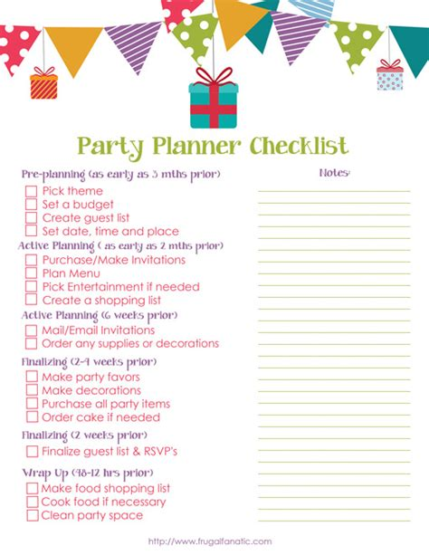 printable birthday party planner template party planning checklist templates free download programs