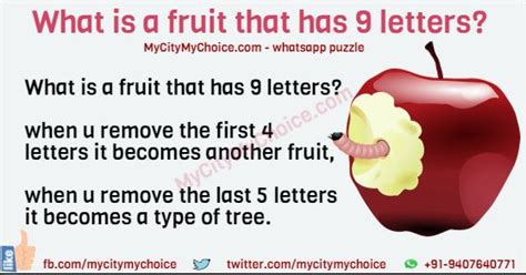 fruit 9 letters what is a fruit that has 9 letters puzzle answer