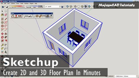 2d and 3d floor plans quickly and easily simply draw your sketchup fast 2d and 3d floor plan with dibac plugin youtube