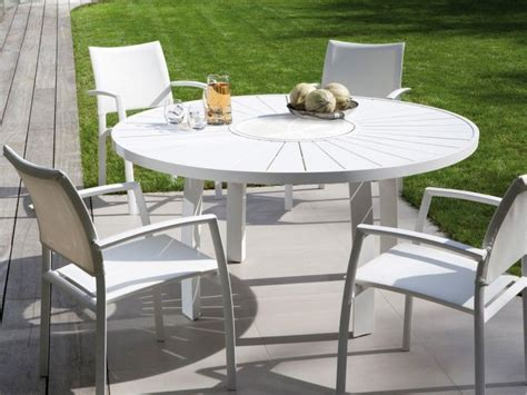 table ronde patio table de jardin ronde en aluminium aspen jati kebon 992
