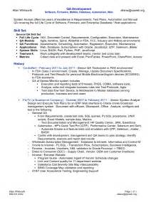 Sle Resume For Manual Testing by Testing Resume Sle Vosvetenet Automation Engineer