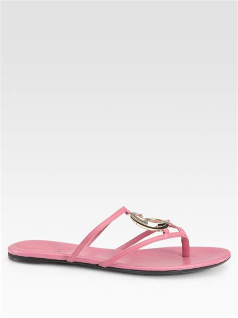 pink flat sandals gucci flat sandals in pink lyst