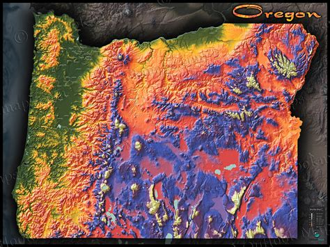 3d topographical map of oregon oregon topography map physical features mountain colors