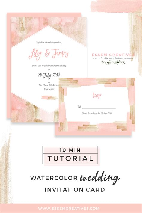 watercolor invitation tutorial how to make a blush and gold watercolor wedding invitation