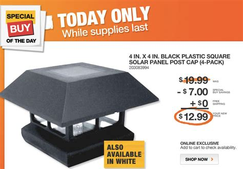 home depot solar post caps deal of the day and 5