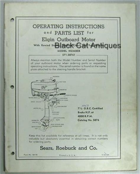 old boat owners manuals 1956 sears elgin outboard owners manual part list for 7