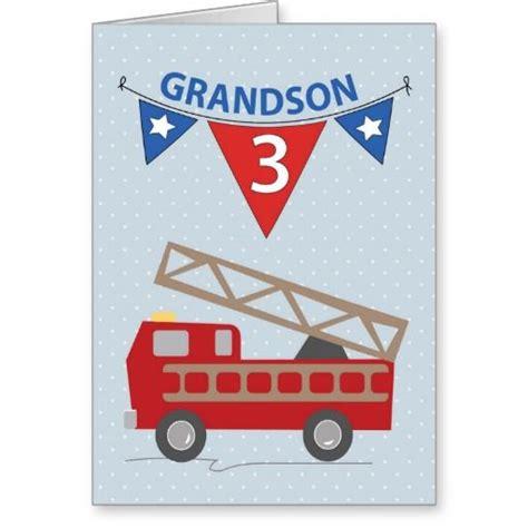 card grandson 3rd birthday grandson firetruck card 3rd birthday