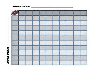 100 Square Football Pool Template by Football Squares Printable Square Grid Office Pool 2017