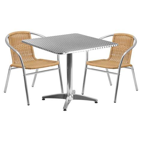 Aluminum Bistro Chairs 31 5 Quot Square Bistro Table Aluminum Dcg Stores