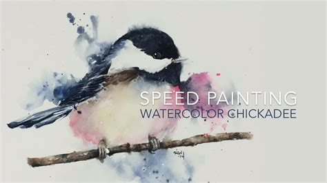 watercolor tutorial chickadee speed painting loose watercolor chickadee youtube