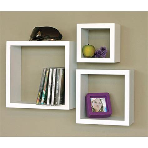 nexxt cubbi wall shelf set of 3 white bookcases