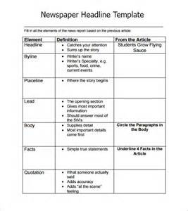 newspaper headline sample 6 documents in pdf word