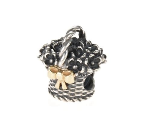 Pandora Refined Basket Of Flowers Twotone Charms P 769 pandora silver 14ct gold flower basket charm 790960 greed jewellery