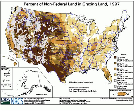 map us federal lands percent of non federal land in grazing land 1997 nrcs