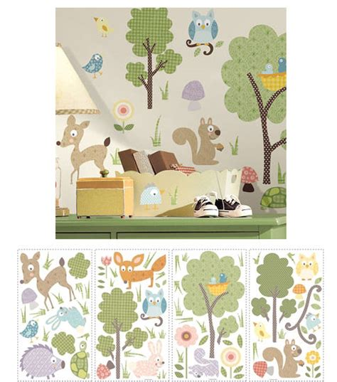 woodland animals wall stickers woodland animals peel and stick wall stickers