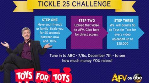 tickling challenge tom bergeron announces afv tickle challenge for toys for