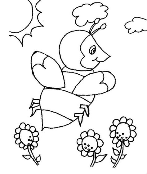 coloring pages field of flowers bumblebee in the open field of flowers coloring page