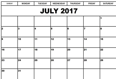 printable blank calendar template july 2017 calendar printable archives social funda