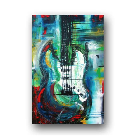guitar painting large abstract original painting on canvas