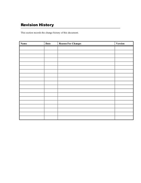 document history template business requirements template