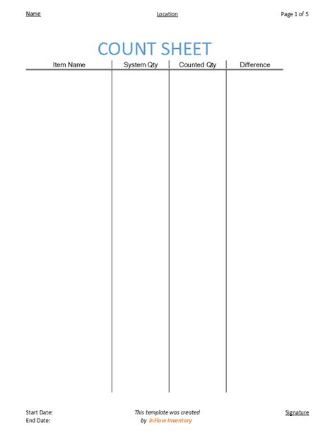 count template how to use a count sheet to check inventory inflow