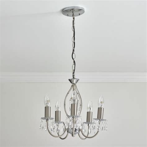 Light Fitting Chandelier Wilko Monsoon Light Fitting Ceiling Silver Nickel Effect 5 Light At Wilko