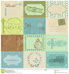 Scrapbook paper tags and design elements royalty free stock