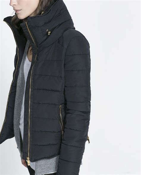 11415 Fur Combined Dress White combined puffer anorak from zara s t y l e