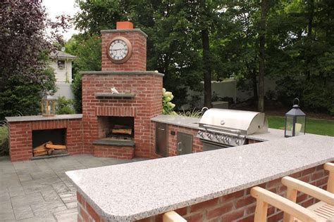 outdoor kitchens with fireplace brick outdoor kitchen with granite countertop and