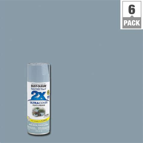 rust oleum painter s touch 2x 12 oz gloss winter gray general purpose spray paint 6 pack